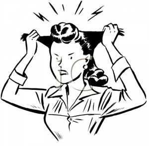 300x294 Black And White Cartoon Of A Woman Pulling On Her Hair