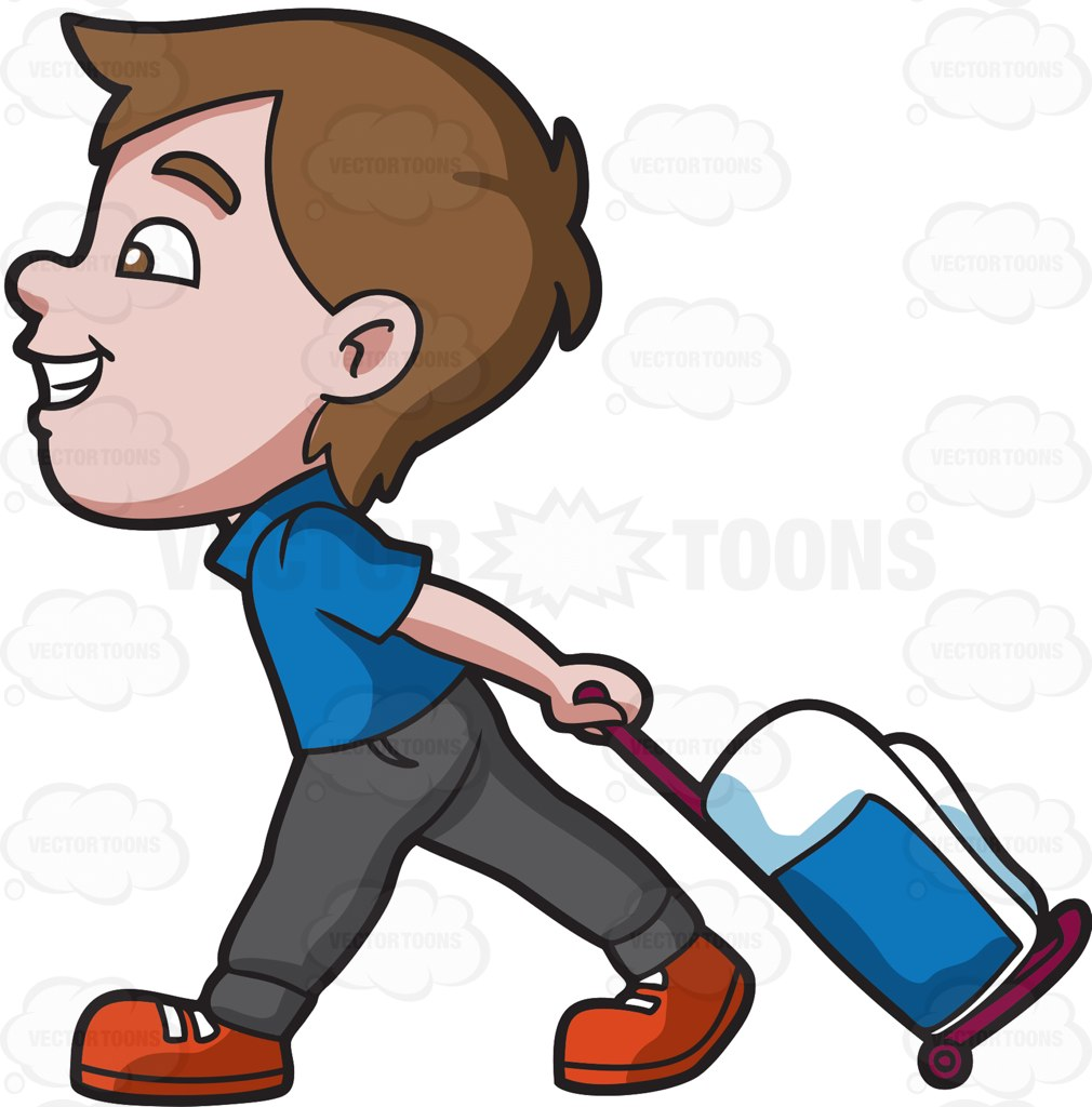 1010x1024 A Boy Happily Pulling His Luggage Cartoon Clipart
