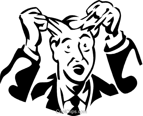 480x389 Frustrated Man Pulling Out His Hair Royalty Free Vector Clip Art