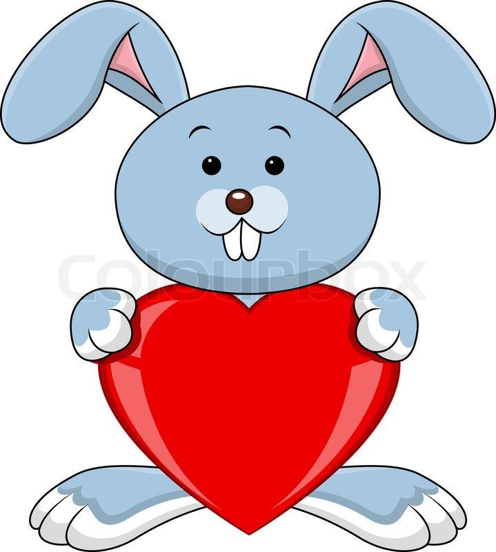 719x800 Funny rabbit cartoon holds love heart Stock Vector Colourbox