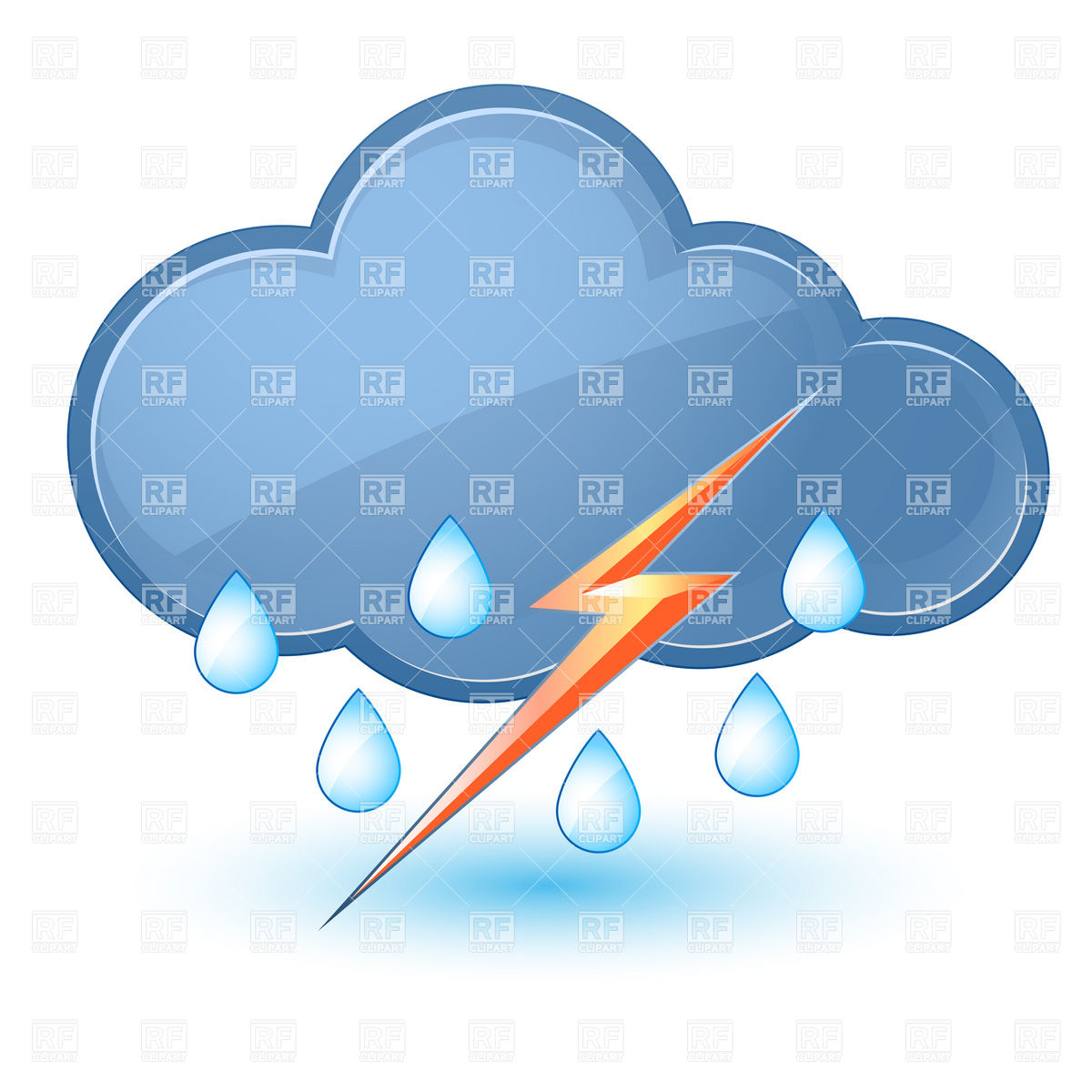 1200x1200 Rainy Cloud With Lightning Royalty Free Vector Clip Art Image