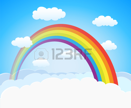 450x371 Cartoon Sky Background With Rainbow And Clouds. Vector Royalty