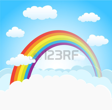 450x443 Cartoon Sky With Rainbow And Clouds. Vector Horizontal Background
