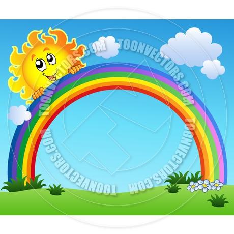 460x460 Cartoon Sun Holding Rainbow On Blue Sky By Clairev Toon Vectors