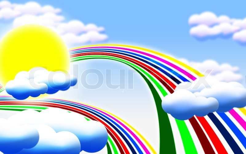 800x500 Cartoon Picture With Sun, Clouds And Rainbow Stock Photo Colourbox