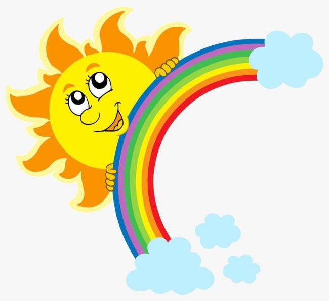 650x596 Cartoon Sun Rainbow, Cartoon, Sun, Rainbow Png Image For Free Download