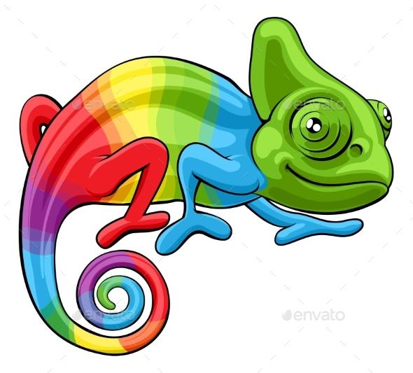 590x533 Chameleon Cartoon Rainbow Character By Krisdog Graphicriver