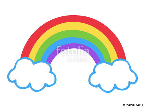500x375 Colorful Rainbow Icon, Vector Illustration Doodle Drawing. Cartoon
