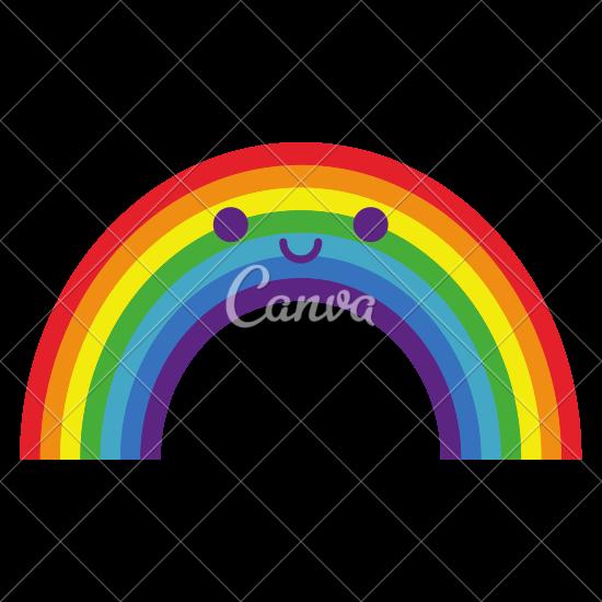 550x550 Cartoon Cute Happy Rainbow Isolated On White Background