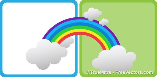 600x296 Download Free Cartoon Rainbow Vector Illustration
