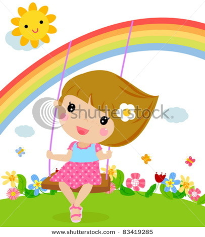 406x470 Girl Swinging Under A Rainbow