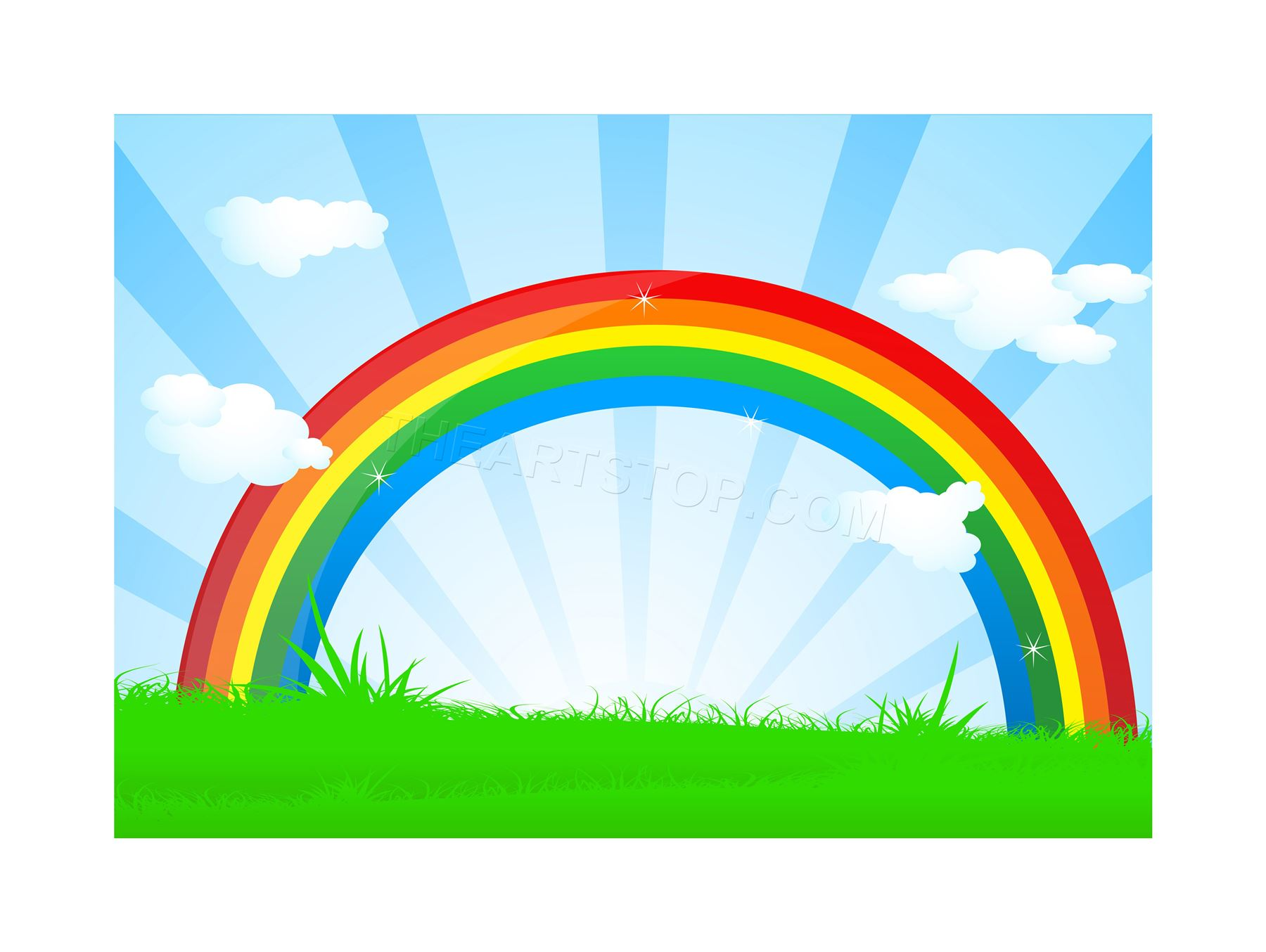 1800x1354 Painting Illustration Cartoon Rainbow Colour Field Sky Framed