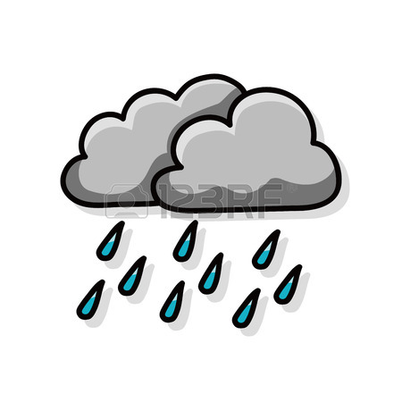 450x450 Rainy Cloud Doodle Royalty Free Cliparts, Vectors, And Stock