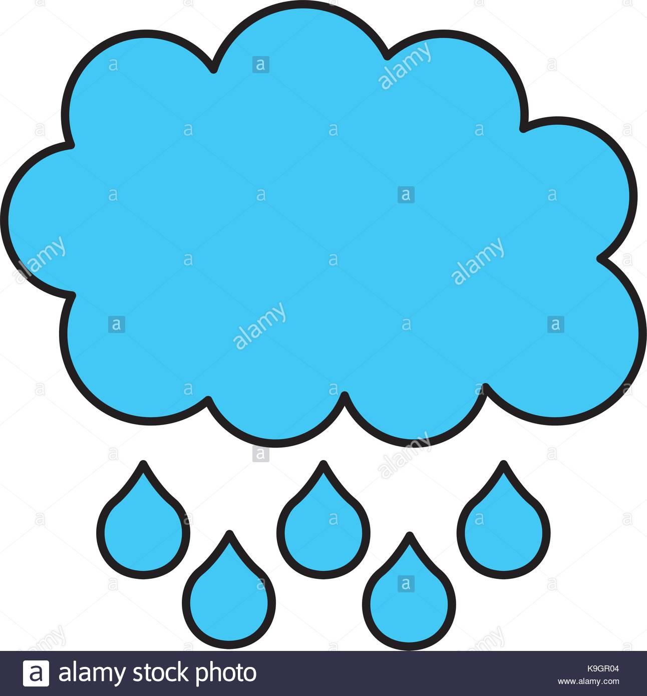 1292x1390 Cartoon Cloud Drops Rain Weather Stock Vector Art Amp Illustration