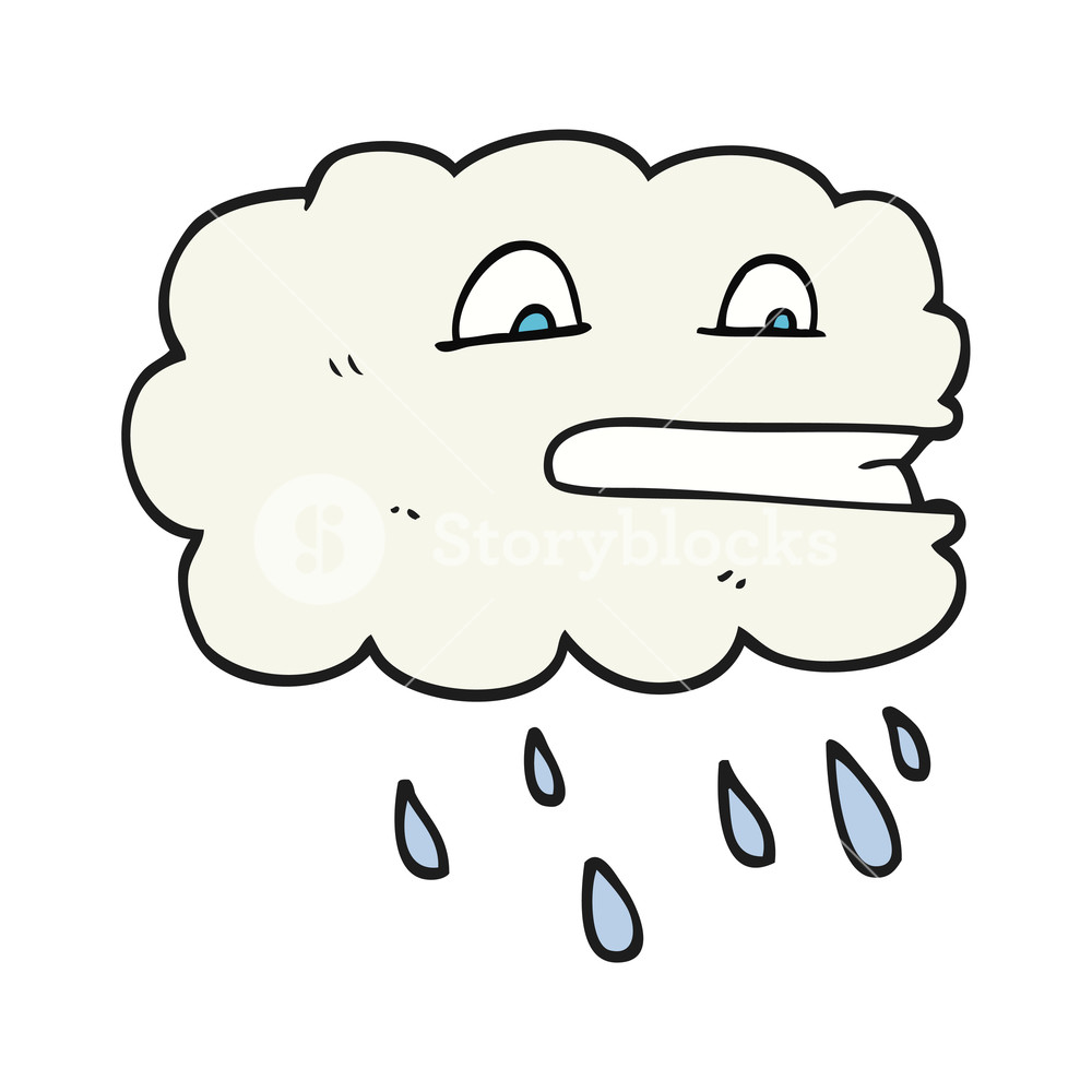 1000x1000 Freehand Drawn Black And White Cartoon Rain Cloud Royalty Free