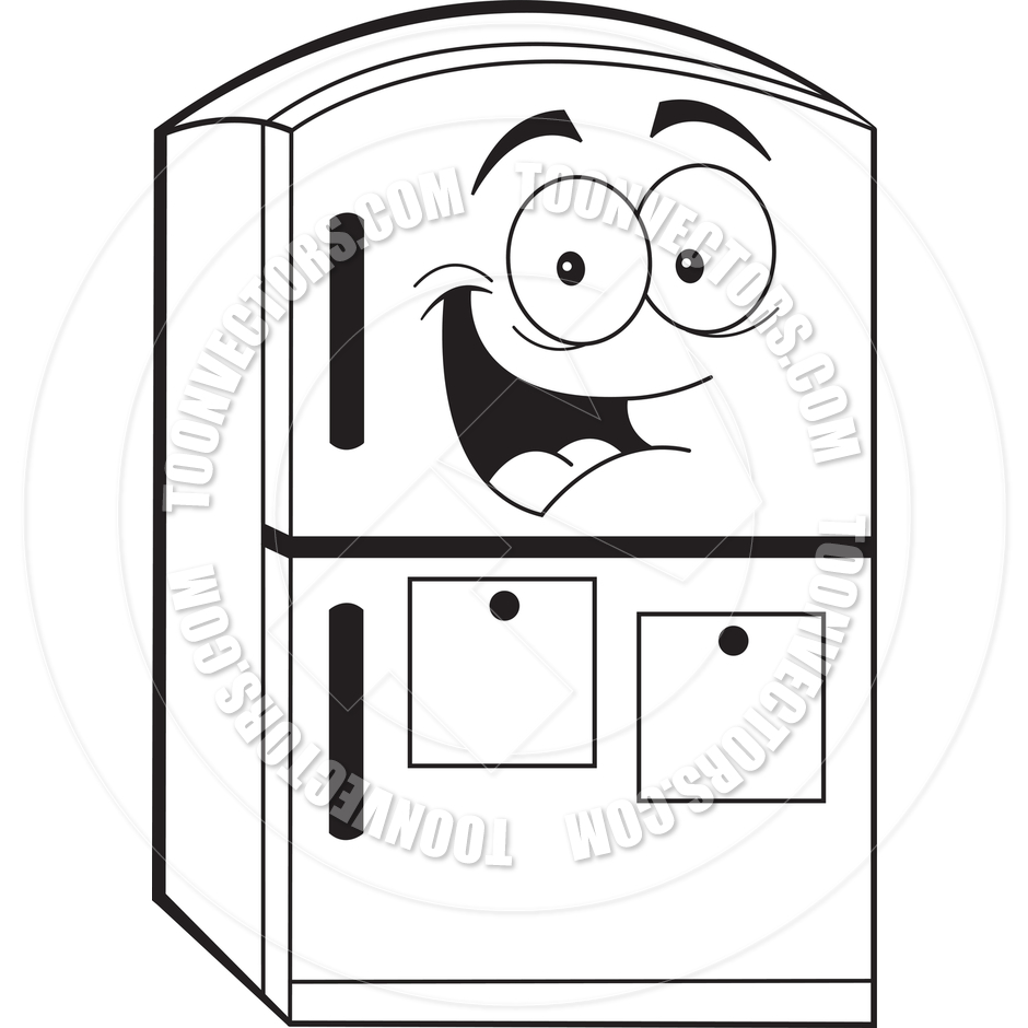 940x940 Cartoon Refrigerator (Black And White Line Art) By Kenbenner