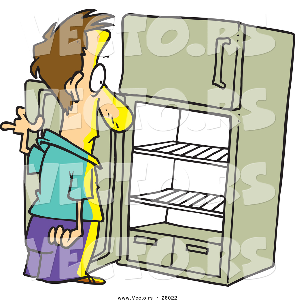 1024x1044 Vector Of A Cartoon White Man Staring In An Empty Fridge By