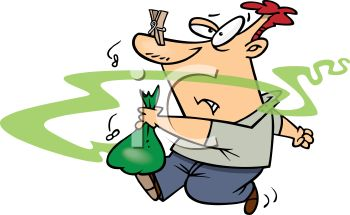350x215 Cartoon Of A Guy Taking Smelly Garbage Out