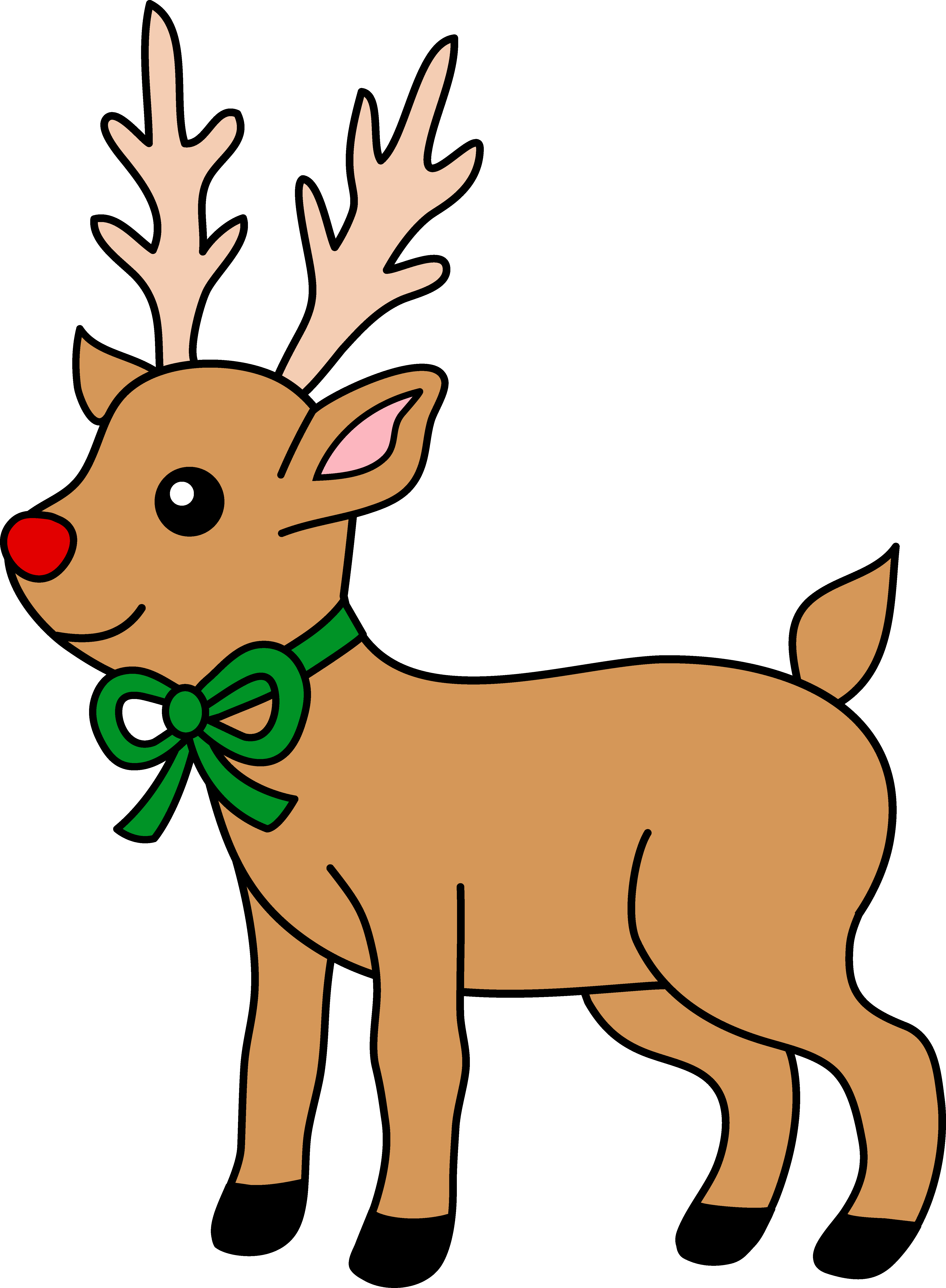 4949x6740 Cute Red Nosed Reindeer Clipart
