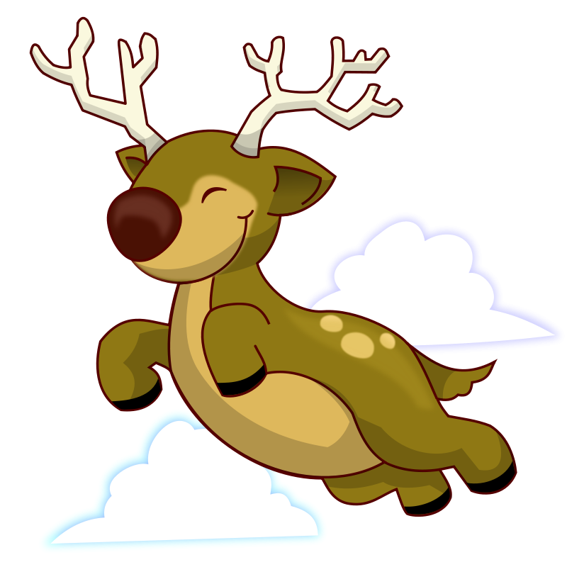 800x800 Free Flying Reindeer Clip Art