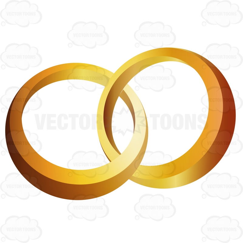 800x800 Two Gold Rings Interlocked Cartoon Clipart