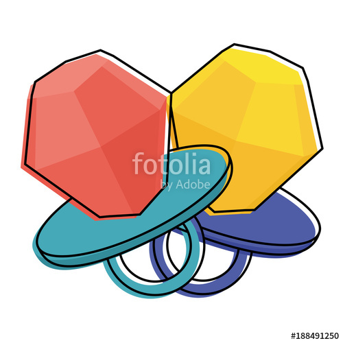 500x500 Pair Diamod Rings Cartoon Jewelry Fantasy Vector Illustration