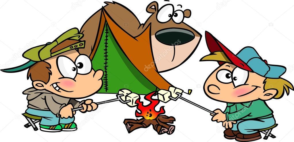 1023x495 Cartoon Roasting Marshmallows Stock Vector Ronleishman
