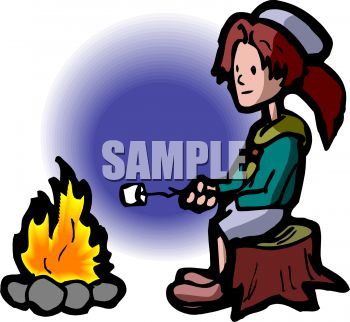 350x322 Girl Scout Sitting On A Stump Roasting Marshmallows