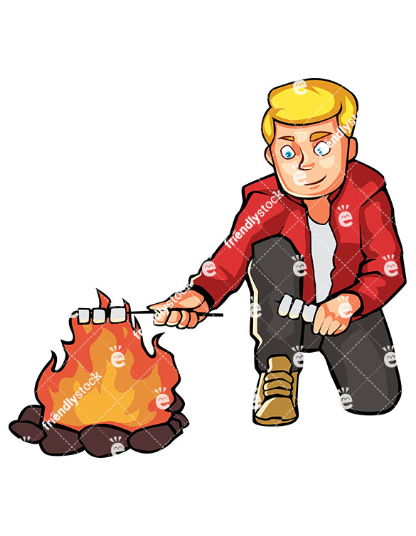 585x755 Man Roasting Marshmallows By The Campfire Cartoon Clipart