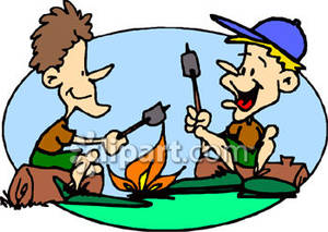300x213 Roasting Marshmallows Over An Open Fire Royalty Free Clipart Picture