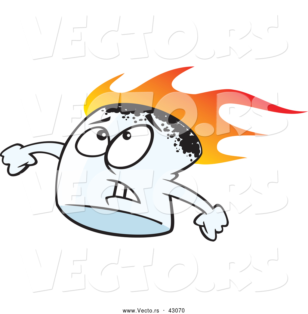 1024x1044 Vector Of A Roasting Cartoon Marshmallow With Worried Look On His