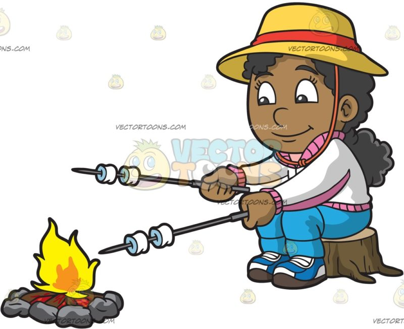 800x651 A Black Girl Roasting Marshmallows While Camping A Black Girl