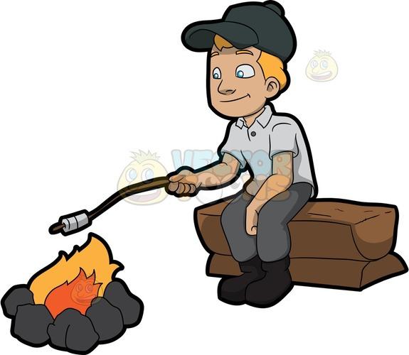 575x500 A Camper Roasting Marshmallows Cartoon Clipart