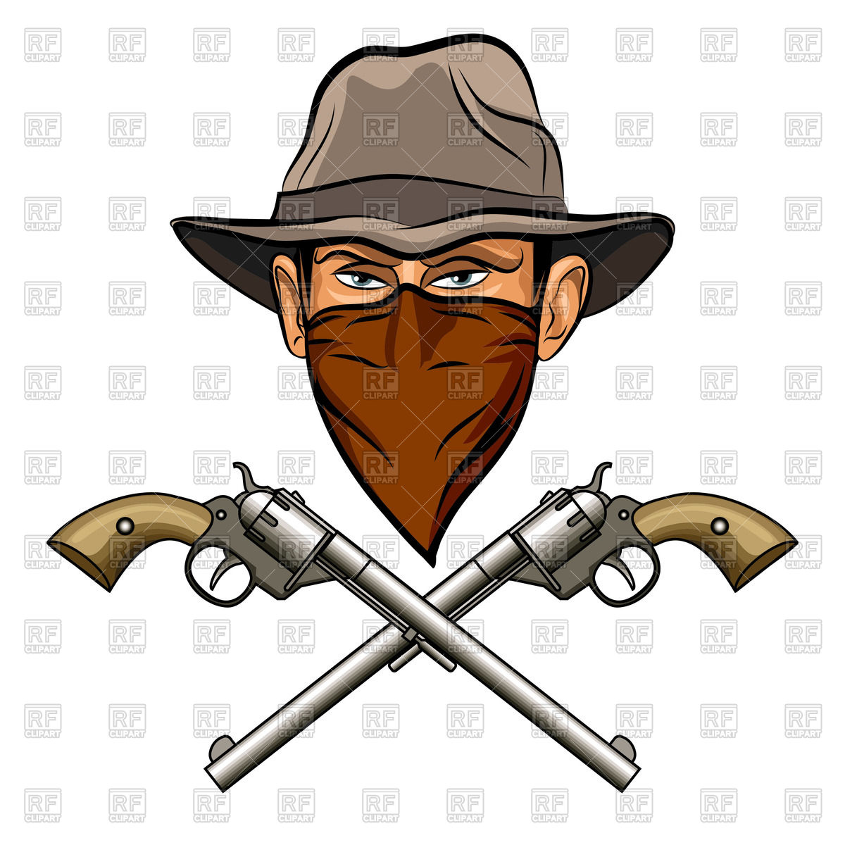 ee2423c74e7df 1200x1200 Bandit In Hat With Bandana On Face And Two Crossed Guns (Six
