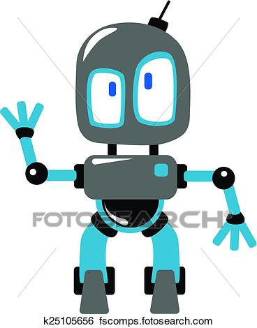 368x470 Clip Art Of Funny Cartoon Robot Or Alien Waving Hand K25105656