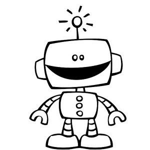 300x300 Robot Clipart Black And White