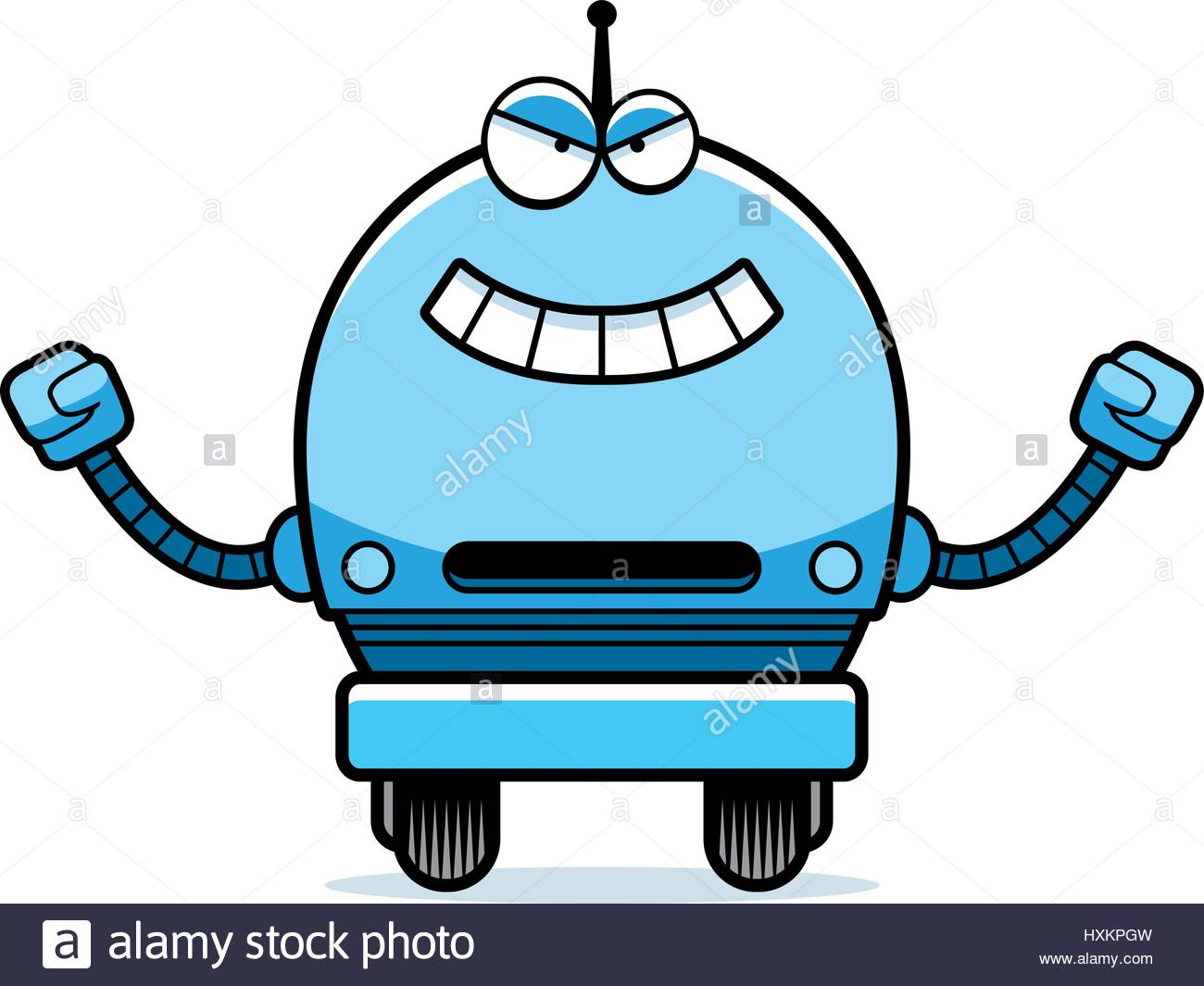 1300x1065 A Cartoon Illustration Of An Evil Looking Male Blue Robot Stock