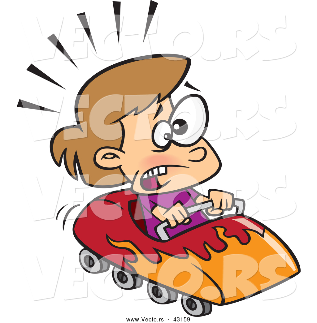 1024x1044 Vector Of A Scared Cartoon Girl Riding A Roller Coaster By