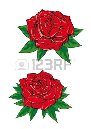 318x450 Red Rose In Cartoon Style For Tattoo Dsign Royalty Free Cliparts
