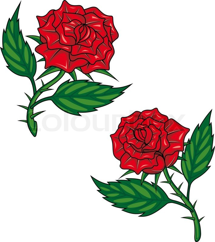 709x800 Two Red Cartoon Roses Isolated On White For Tattoo Design Stock