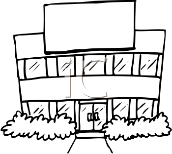 350x312 School Building Black And White Clipart Panda