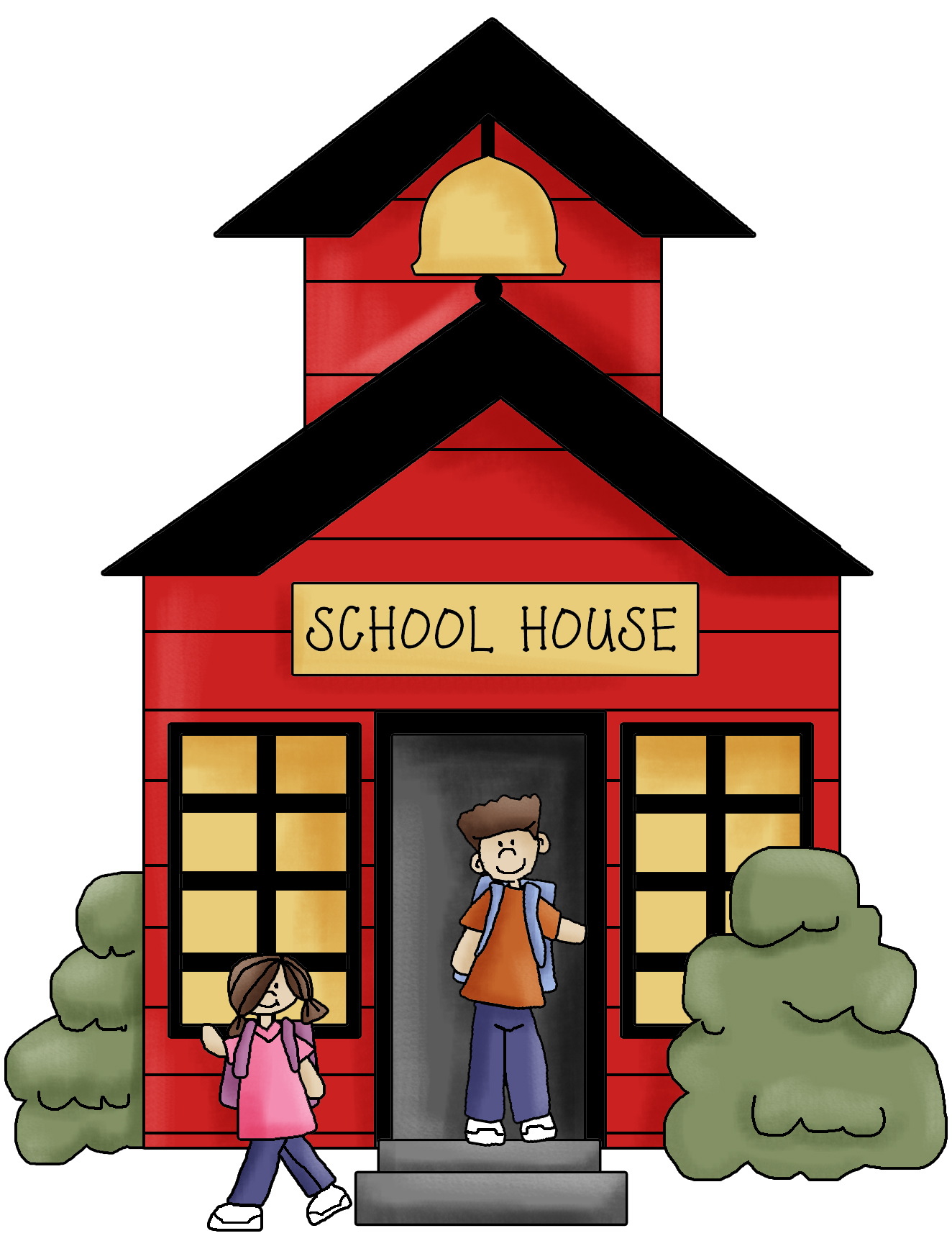 1324x1732 School Building Open Clipart