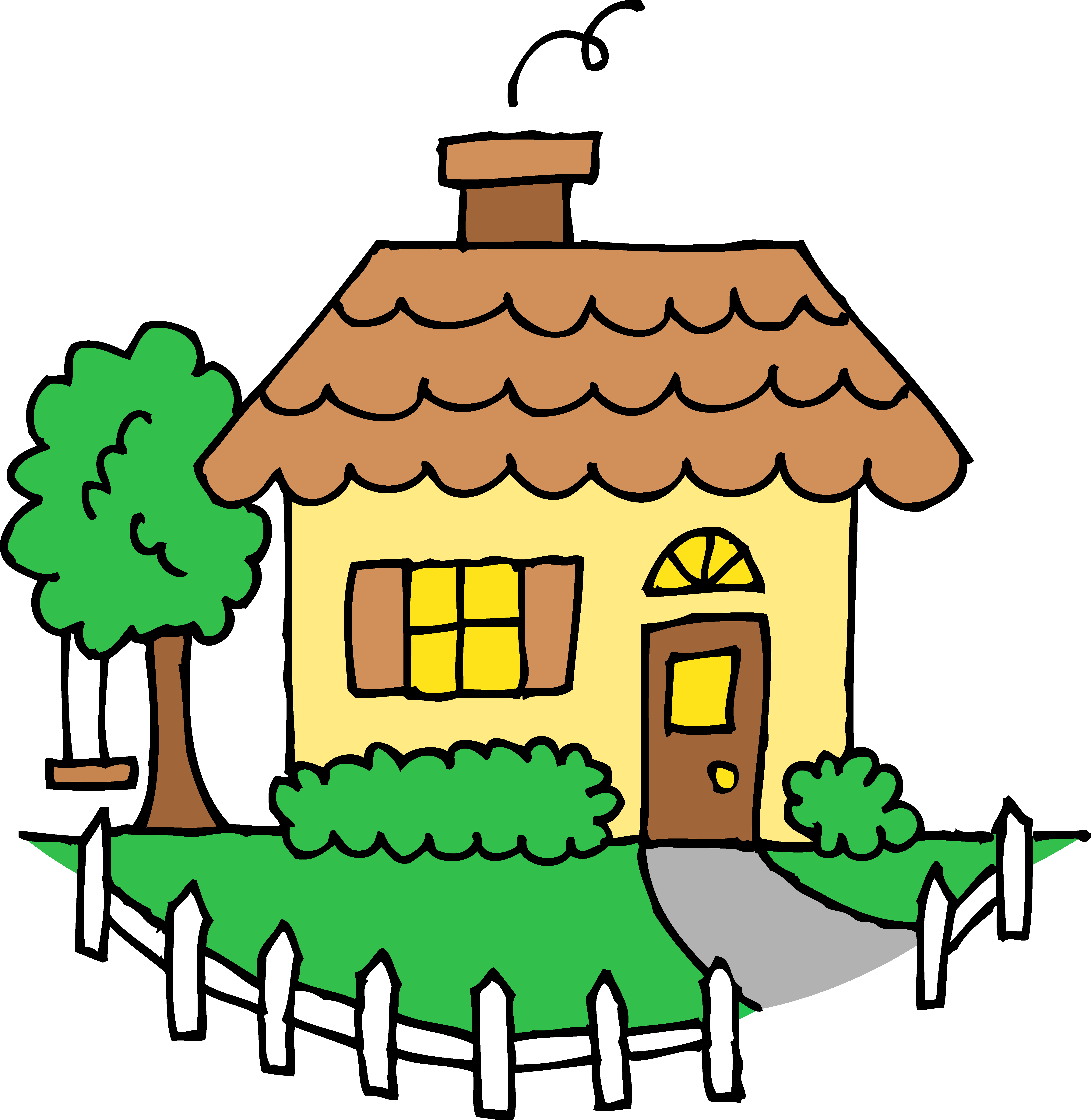 5765x5916 Little Yellow House Clipart