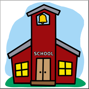 304x304 Clip Art Cartoon Schoolhouse Color Abcteach
