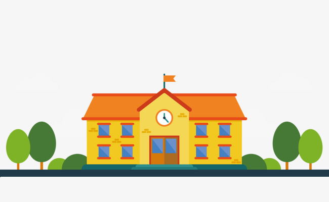 650x400 Cartoon Orange School Vector, Vector Diagram, Orange House, Tree