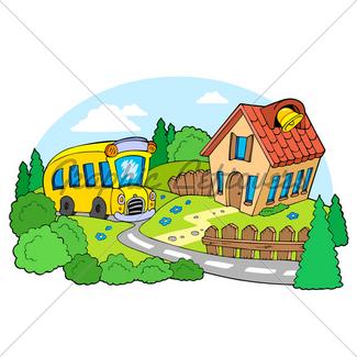 325x325 Cartoon School Building Gl Stock Images