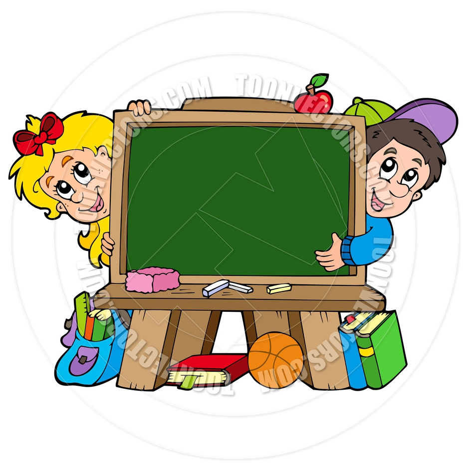 940x940 Cartoon School Chalkboard With Two Kids By Clairev Toon Vectors