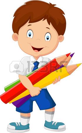280x450 Cartoon School Girl Holding Pencils Royalty Free Cliparts, Vectors