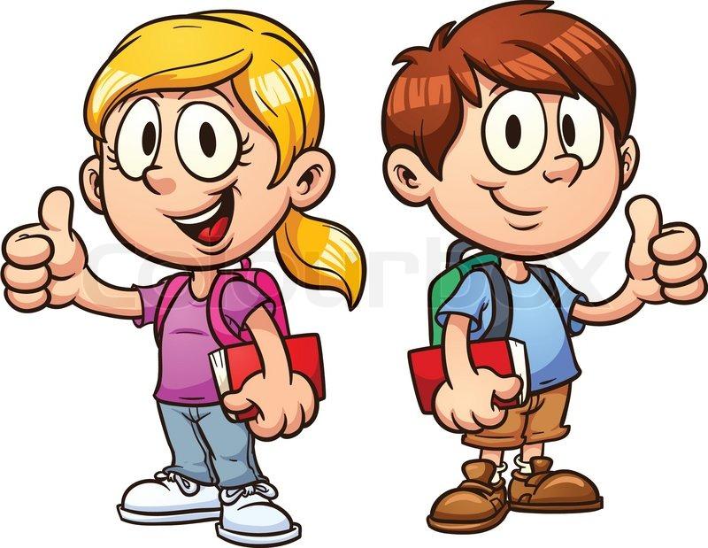 800x619 Cartoon School Kids In Uniform. Vector Clip Art Illustration