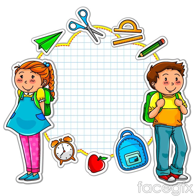 800x800 Cartoon School Stickers Vector Drawings Cartoon